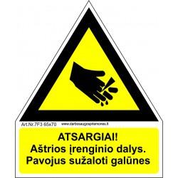 Atsargiai! Aštrios įrenginio dalys (Aštrus strypas) 461