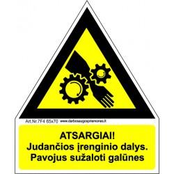 Atsargiai! Judančios įrenginio dalys (dantračiai) 461
