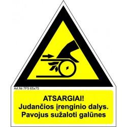Atsargiai! Judančios įrenginio dalys (transporterio juosta) 461