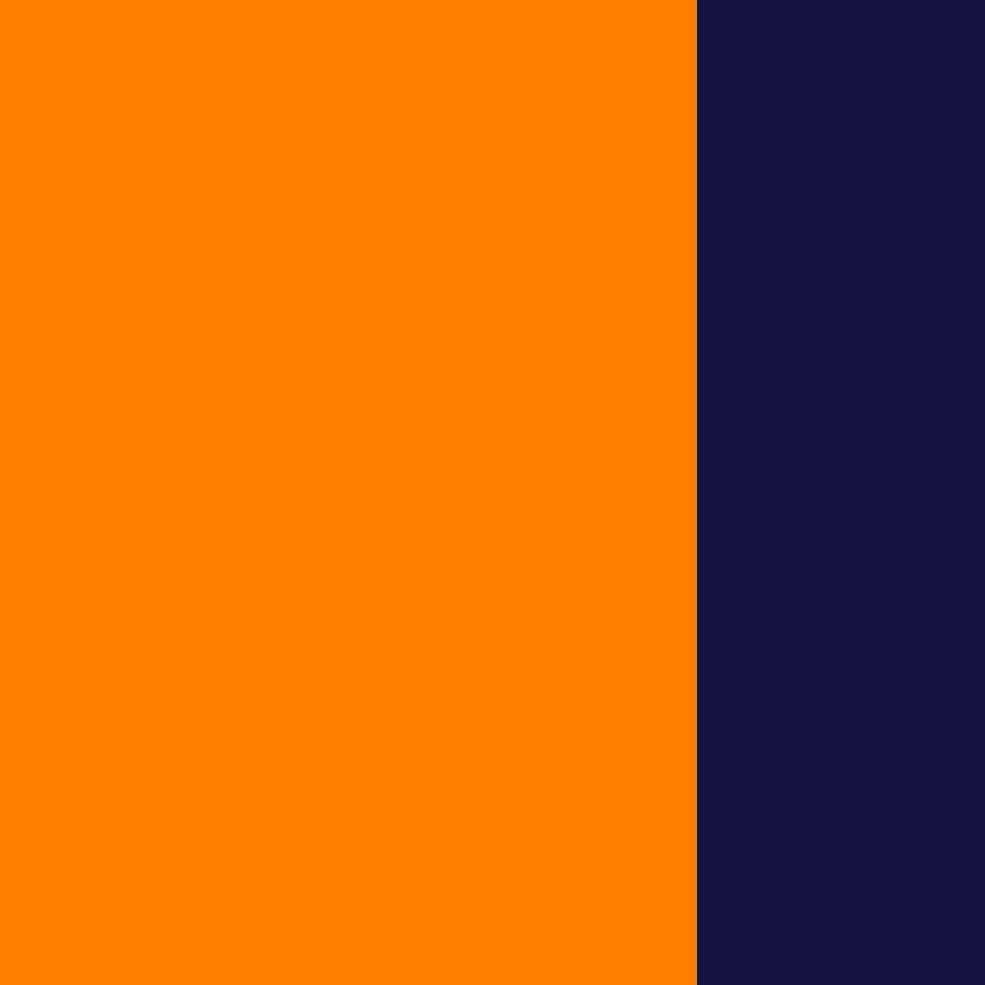 Oranžinė-tamsiai mėlyna